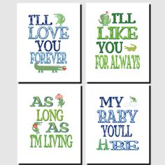 I'll Love You Forever, Alligators, Kids Wall Art Nursery Art Baby Boy Baby Room by vtdesigns on Etsy, $32.00