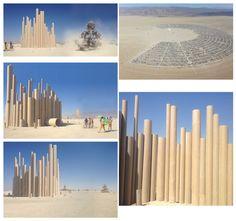 Loopcamp: proyecto instalado en el Burning Man de San Francisco consistente en tubos de cartón reciclado para proteger a todos los asistentes al festival del las tormentas de la zona. Además, sus efectos sonoros son increíbles.