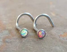 White opal and pink fire opal nose corkscrew piercing nose stud. You will receive BOTH the white and pink opal nose studs in the first 2 photos. 20 gauge sterling silver wire with tiny 2mm 100% genuin
