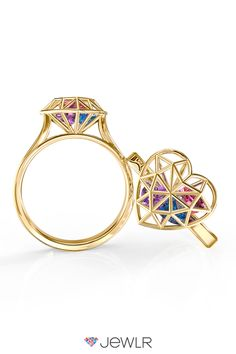 Our dazzling Diamond Heart Cage Ring is the perfect symbol of true love. Sparkling heart shaped birthstones fill the prismatic 3D Diamond cage, creating a ring that is truly one of a kind. Personalize in silver, white gold, yellow gold or rose gold with your choice of gemstones and special engraving. With free shipping, free resizing and a free bonus gift with every order, Jewlr.com is the perfect place to design your dream jewelry.