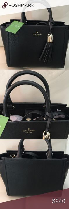 NWT KATE SPADE SMALL RORIE WICKHAM PLACE BLACK PRODUCT DESCRIPTION: A tassel catches the eye on this luxe leather pick featuring a magnetic snap closure and removable crossbody strap for versatility.  11'' W x 8'' H x 5'' D 4'' handle drop 24'' max. strap drop Leather Lined Magnetic snap closure Removable crossbody strap Imported kate spade Bags Totes