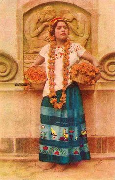 """thatbohemiangirl: """" My Bohemian History badassmexicans: """" Muchacha del Estado de Guerrero,Mexico postcard. I love all the Marigold flowers. and the way shes stading lookin Bad Ass. Mexican Costume, Mexican Outfit, Folk Costume, Costumes, Costume Dress, Mexican Art, Mexican Style, Mexican American, Mexican Heritage"""