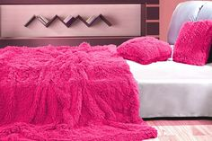 Luxusné chlpaté deky a prehozy ružovej farby Shag Rug, Bean Bag Chair, Bed Pillows, Pillow Cases, Ottoman, Sweet Home, Blanket, Grey, Furniture