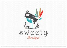 Logo for sale: Unique and distinctive bird logo. The bird is designed in a whimsical style with the bird situated in a stylized and whimsical bird's nest. The colors add a uniqueness and bold look.