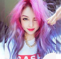 Park Hye Min ulzzang ulzzang girl pony kfashion fashion ombre hair pink purple make up