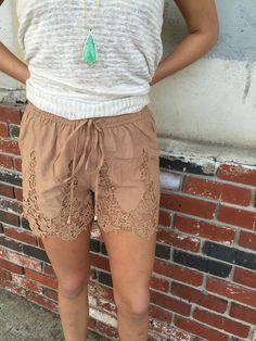fortuityinc - Crochet Shorts::TAN, $35.00 (http://www.fortuityusa.com/crochet-shorts-tan/)