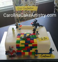 Awesome grooms cake with all his fav Lego characters!