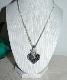 $545 King Baby Queen Silver LG Black CZ Pave 3D Crowned Heart Pendant Necklace | Jewelry & Watches, Fashion Jewelry, Necklaces & Pendants | eBay!