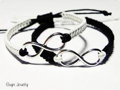 * Matching Bracelets, Couples Bracelets, Infinity Bracelets, His Hers Bracelets, Friendship Bracelet, Stacking Bracelets, Cord Bracelet *  Two