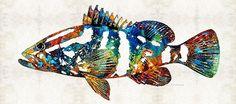 #fishing #grouper #fish Colorful Grouper 2 Art Fish by Sharon Cummings