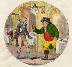 Isaac Cruikshank, A Country Farmer & Waiter at Vauxhall. A farmer in country dress, on his first visit to Vauxhall, has ordered ham in expectation of a plateful of English gammon. When the waiter brings him the notoriously thin slices that were Vauxhall ham, the farmer is furious.