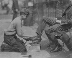 Shoe Shine Boy Bootblack At Work 1920s 8x10 Reprint Of Old Photo