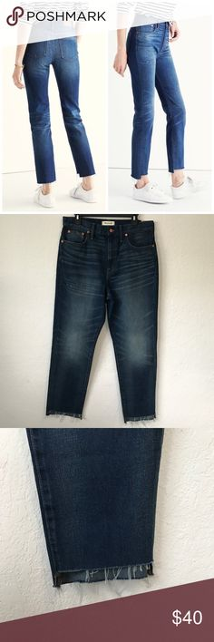 """Madewell Perfect Vintage Jeans Step Hem Edition Our Perfect Summer Jean gets a year-round makeover thanks to a slightly longer inseam, a just-right darker wash and, in the case of this pair, a cool hand-cut raw hem that's just a touch longer in back. With a '90s-supermodel-inspired high rise that perfectly accentuates the waist. •Premium 100% cotton •An old-school dark indigo. •Sits above hip, fitted through hip and thigh, with a slim leg. •Front rise: 11""""; inseam: 26""""/27""""; leg…"""