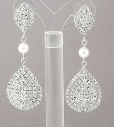Bridal Earrings Swarovski Pearl Earrings by goddessdesignsgems