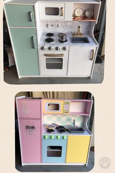 room makeover for kids Sass and Ceciles Play Kitchen Makeover sassandceciledotcom Kidcraft Kitchen, Kids Toy Kitchen, Ikea Play Kitchen, Play Kitchens, 10x10 Kitchen, Mud Kitchen, Countertop Makeover, Kids Decor, Furniture Makeover