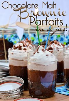 "Malted Brownie Parfaits - Uber rich and delicious! I ""fudged"" this recipe a bit, using Cool Whip and subbing dry hot choc mix for cocoa powder and sugar to make choc malted whipped cream. Next time, and there WILL be a next time, I will use smaller jars. This pin is a success!!"