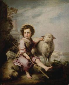 "Bartolomé Esteban Murillo (1617-1682) ""Christ the Good Sheperd"" (1660) Oil on canvas Baroque Located in the Museo Nacional del Prado, Madrid, Spain"