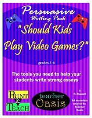"""FREE Persuasive Writing Pack! Enter for your chance to win 1 of 5. Persuasive Writing Prompt """"Should Kids Play Video Games?""""  (20 pages) from Teacher Oasis on TeachersNotebook.com (Ends on on 05-20-2017) Motivate your students to write with this high-interest prompt.  Includes everything you need to teach persuasive writing.."""