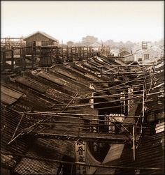 Bridges By Which The Night Police Of The Roofs Cross The Streets, Canton, China [1900] Underwood & Co. [RESTORED] by ralphrepo, via Flickr