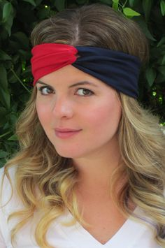 New England Patriots Headband Red and Blue Headband by ItsTwisted