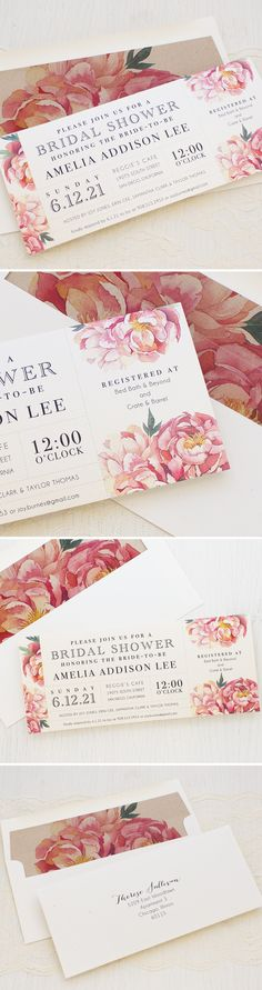 Pretty in Pink! Peony Bridal Shower Invites by Beacon Lane. Each card is printed on a shimmery ivory paper and paired with a matching envelope liner and ivory speckled envelope.