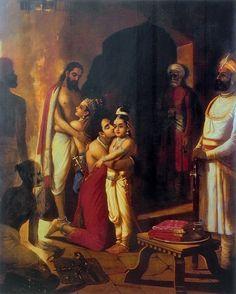 Reprints of Raja Ravi Varma Paintings: Sri Krishna with Balarama Liberating Parents (Vasudev and Devki) from Prison after Killing Uncle Kamsa