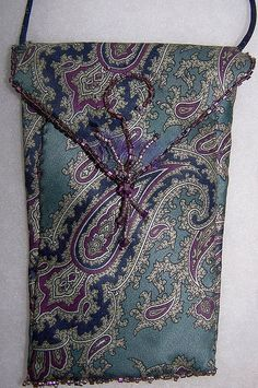Paisley tie small purse, glasses or phone/card holder