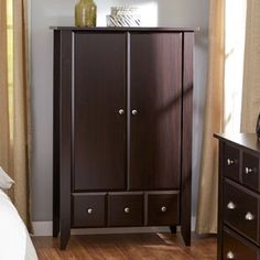Dark bedroom Wardrobe - Bedroom Wardrobe Armoire Cabinet in Dark Brown Mocha Wood Finish Wardrobe Armoire, Furniture, Wooden Wardrobe, Wardrobe Storage, Tall Cabinet Storage, Storage, Cabinet, Clothes Cabinet, Diy Wardrobe