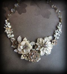White Wedding   White Roses Rhinestone Necklace  by tomrass4, $179.00