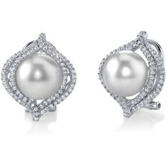 South Sea Pearl & Diamond Clara Earrings (80 705 UAH) ❤ liked on Polyvore featuring jewelry, earrings, white, diamond earrings, 18 karat gold earrings, white south sea pearl earrings, round earrings and diamond pendant jewelry
