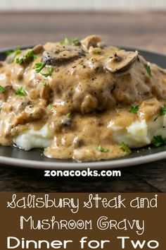 This Salisbury Steak with Mushroom Gravy recipe is quick and delicious! The beef is savory and the creamy mushroom gravy is perfect served over mashed potatoes. This recipe serves 2 people, is cooked in one pan, and ready in just 30 minutes. Salisbury Steak With Mushroom Gravy Recipe, Salisbury Steak Recipes, Homemade Salisbury Steak, Small Meals, Meals For Two, Steak And Mushrooms, Stuffed Mushrooms, Meat Recipes, Cooking Recipes