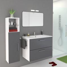 Meuble de salle de bains Happy gris zingué n°1 81x46 cm, 2 tiroirs 199e