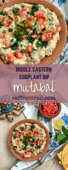 Recipe for Mutabal / Moutabbal / Moutabel - an eggplant dip which is part of a Mezze platter. A bowl of hummus, another bowl of mutabal, a stack of pita breads or crackers, and you'll feel that life is indeed amazing