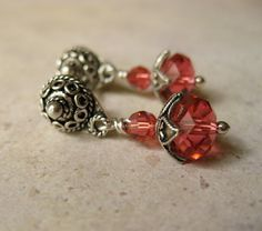 Padparadscha (orange red)  Swarovski crystal Balinese Sterling silver post earrings Casual wear Dressy Wedding silver jewelry - pinned by pin4etsy.com