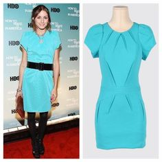 BENSONI Aqua Sheath Dress Bendoni is a brand from NYC that has a youthful vibe that has attracted many women around the world including many celebrities. This particular style was worn by Olivia Palermo. Gorgeous Aqua color with seaming that makes the dress just more beautiful. Short sleeve, hidden back zip. Lined. Used once and in mint condition. All reasonable offers are welcome! Please make all offers through the offer button Bensoni Dresses