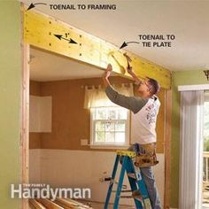 How to install a load bearing beam...don't want the entire wall gone between the kitchen and the living room because it will be hard to keep the babies/dogs out but want it opened so I can see them while I cook