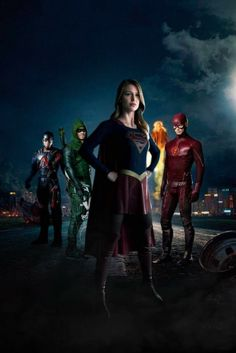 Heroes of the DC Television Universe as Arrow, Firestorm, SuperGirl, Atom the Flash.