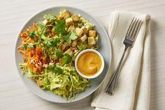 Tofu Cabbage Salad with Kimchi Miso Dressing and Peanuts