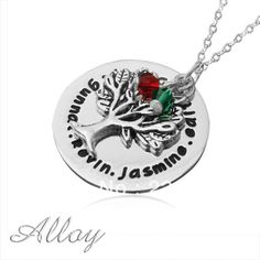 Personalised words necklace, alloy disc,family tree,birthstone,BFF name necklace $9.99