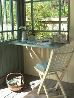 Container Gardening - An Answer To Minimal House For Increasing Vegetation Homespun Chic By Cuprinol Beautiful Shed With Two Windows In The Corner. Valuable Fold Down Table. In the event that It Used Space By The Door Summer House Interiors, Fold Down Table, Shed Interior, Casas Containers, Desk Areas, Screened In Porch, Play Houses, Dog Houses, Cottage Style