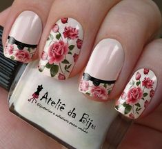 Nail Art Stickers That Don't Look Cheap - Nail art stickers are widely available in the market. For you who look for inspiration to decorate your elegant nails, here are some nail stickers to inspire you. Perfect Nails, Gorgeous Nails, Pretty Nails, Elegant Nails, Stylish Nails, Vintage Nails, Rose Nails, Sparkle Nails, Flower Nail Art