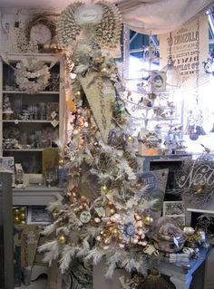 White vintage Christmas tree