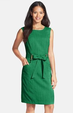 Ellen Tracy Bamboo Detail Textured Sheath Dress available at #Nordstrom