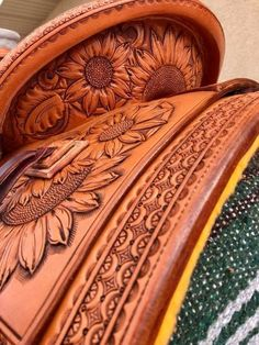 Sunflower Tooled Saddle | 7/o Brand Horse Barns, Horse Tack Rooms, Western Riding, Selles Western, Western Horse Tack, Barrel Racing Saddles, Barrel Saddle, Western Saddles, Horse Saddles