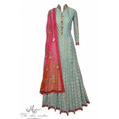 Ethnic sea blue stitched anarkali suit adorn in benarasi polka dots