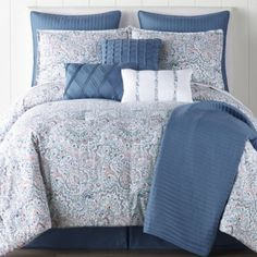 Buy JCPenney Home Audrey 10-pc. Comforter Set at JCPenney.com today and Get Your Penney's Worth. Free shipping available Bed Comforter Sets, Blue Comforter, Queen Comforter Sets, Comforters, Clean Bed, Beds For Sale, New Beds, Bed Sizes, King Beds