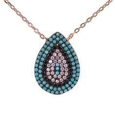 Κολιέ σταγόνα στόχος  ροζ επιχρυσωμένο ασήμι 925  ζιργκόν 4621 Turquoise Necklace, Pendant Necklace, Jewels, Bijoux, Gemstones, Jewerly, Gems, Drop Necklace, Fine Jewelry