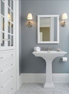 "Home Decor : .loving the wall color! { Paint Color is Benjamin Moore colors Solitude"".} Like the wall color with the white contrast! Bathroom or bedroom? Bad Inspiration, Bathroom Inspiration, Blue Gray Paint Colors, Paint Colours, Blue Gray Walls, Bluish Gray Paint, Navy Blue, Bright Colours, Colours 2017"