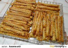 Slané tvarohové tyčinky recept - TopRecepty.cz Apple Pie, French Toast, Bacon, Eat, Cooking, Breakfast, Recipes, Food, Apple Cobbler