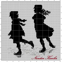Points de croix *@* Monochrome Silhouette - Victorian children on skating